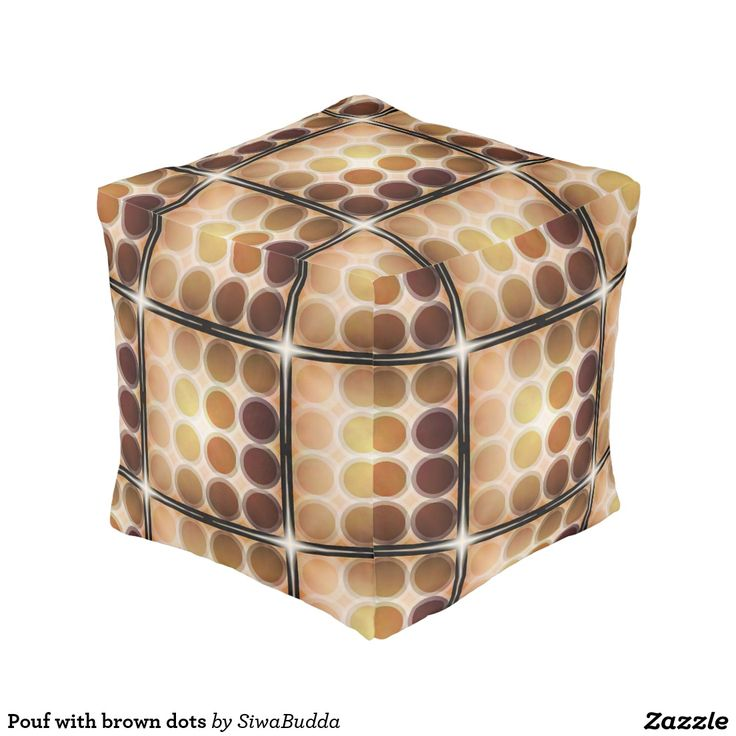 Pouf with brown dots cube pouf