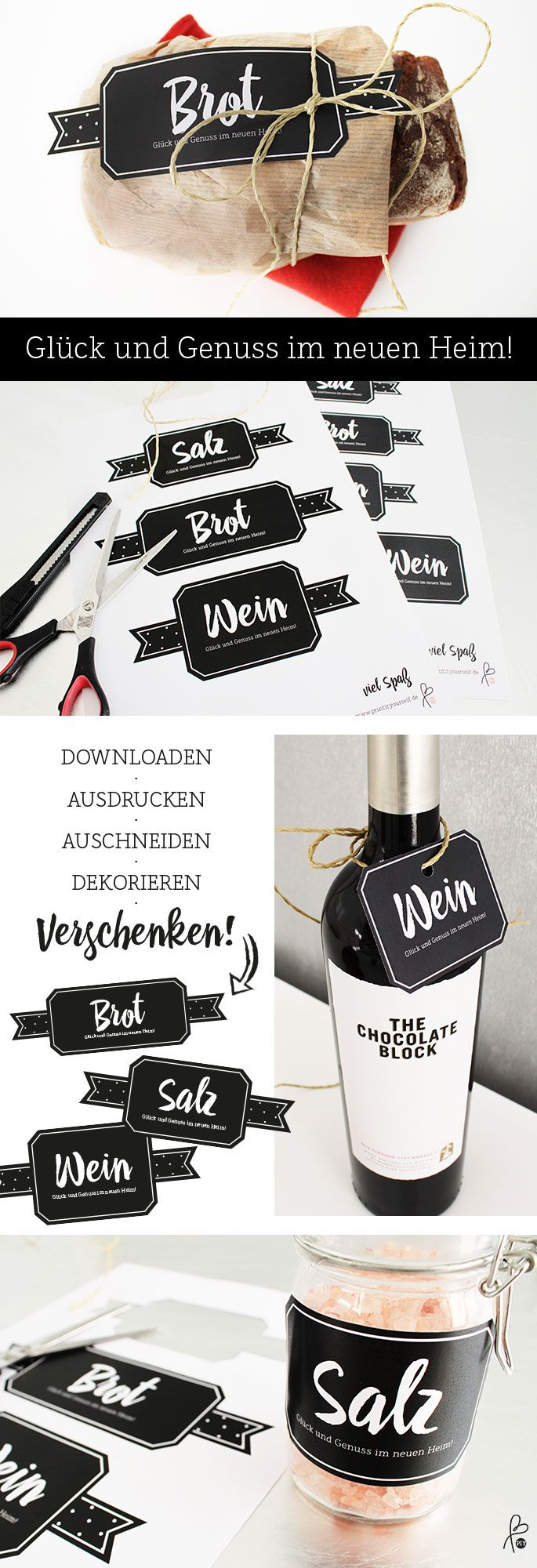 Einweihungsgeschenk DIY / Brot, Salz, Wein / Traditionelles Geschenk in frischem Look! Etiketten DIY