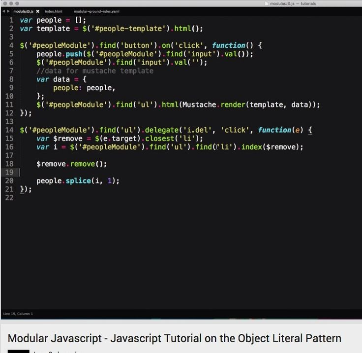 Modular Javascript - Javascript Tutorial on the Object Literal Pattern - YouTube