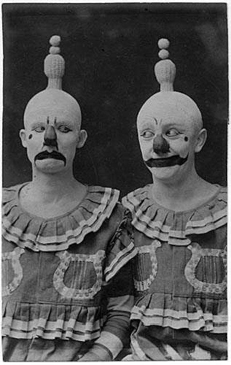 Yeah, these two look like they're up to no good. | 21 Vintage Clown Photos That Will Make Your Skin Crawl