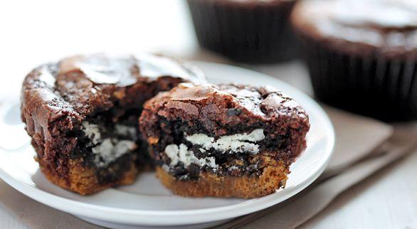 Cookie Stuffed Brownie Cupcakes http://www.tablespoon.com/recipes/cookie-stuffed-brownie-cupcakes-recipe/1/?utm_source=blog_medium=embed_campaign=recipe-embed
