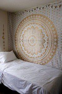 rawyalcrafts original Ombre or Tapisserie Hippie Bohème Motif Gypsy Pensée magique indien Tapisserie mur couvre-lit, Boho: Cet article…
