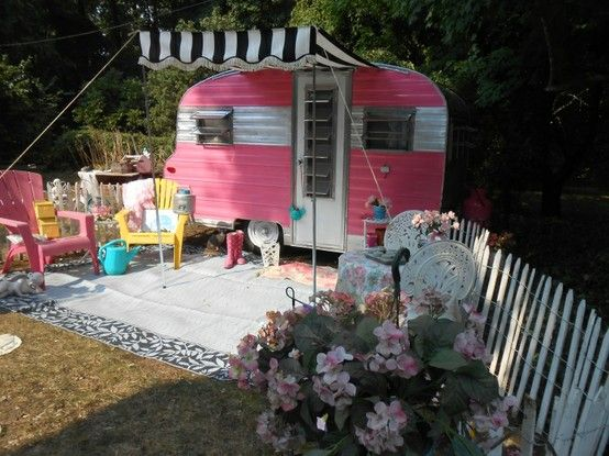 67 Playmor Vintage Camper for sale – Adorable!!  Too much pink!  I'd totally redo it.  But I love it!!