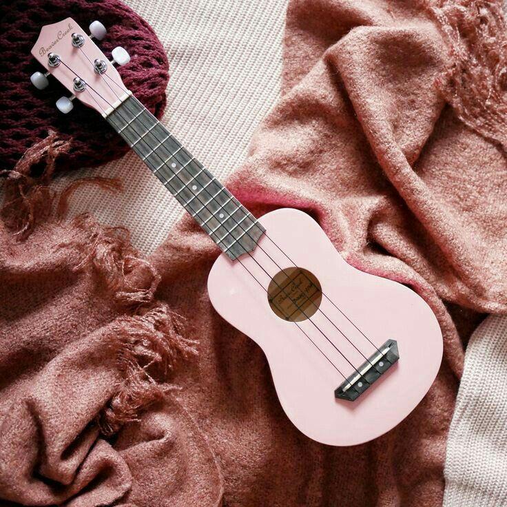 pink guitar music love Arte ukelele, Guitarras