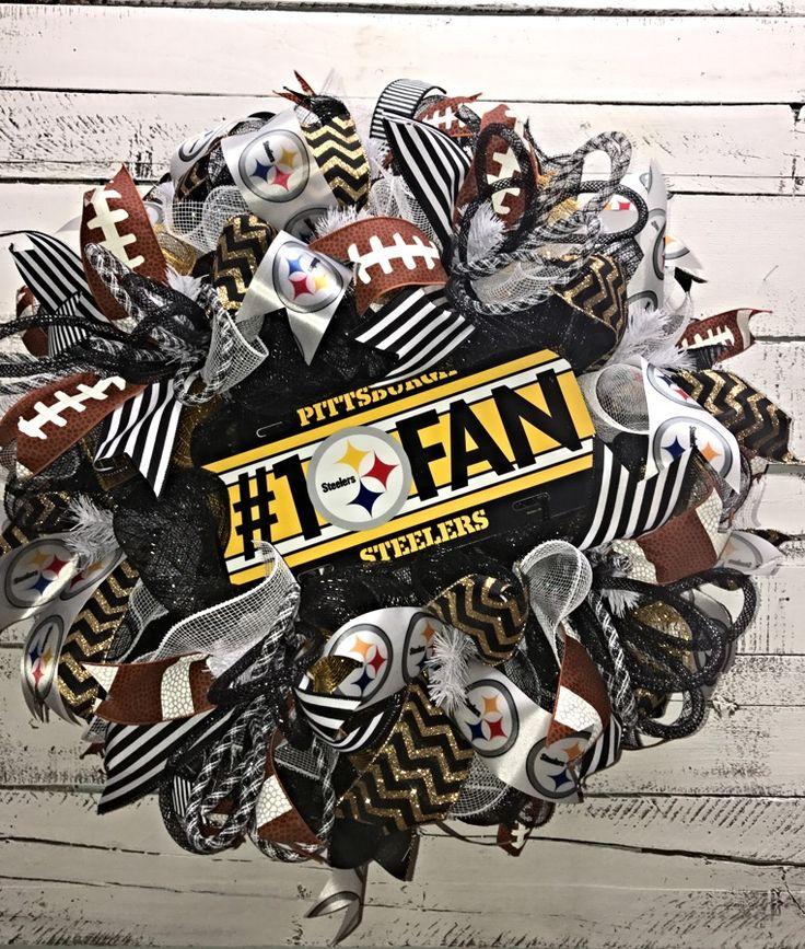 Steelers Wreath, Pittsburgh Steelers Wreath, NFL Wreath, Steelers Deco Mesh Wreath, Steelers Décor, Black and Gold, Here We Go, Steelers Football, NFL Team Wreath, #1 Steelers Fan