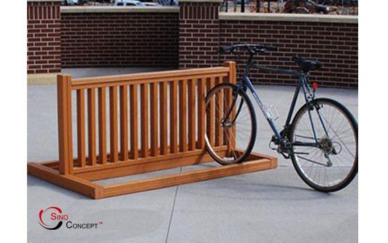 Wooden Bike Rack Designs | bike rack finishing 1 Wood plastic composite bike…