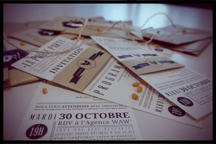 Kraft, Design. Invitation Card. Hand Made