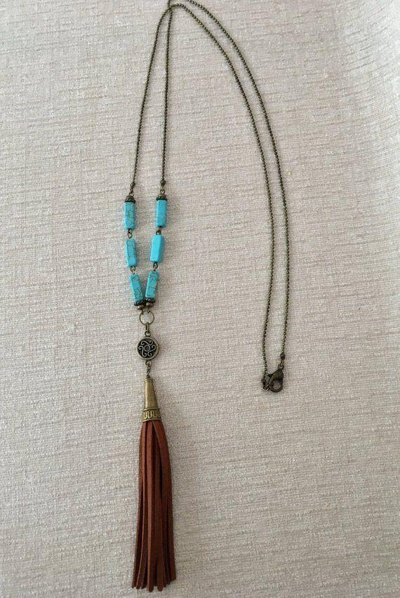 205e047d4e5b Turquoise Magnesite Long Necklace