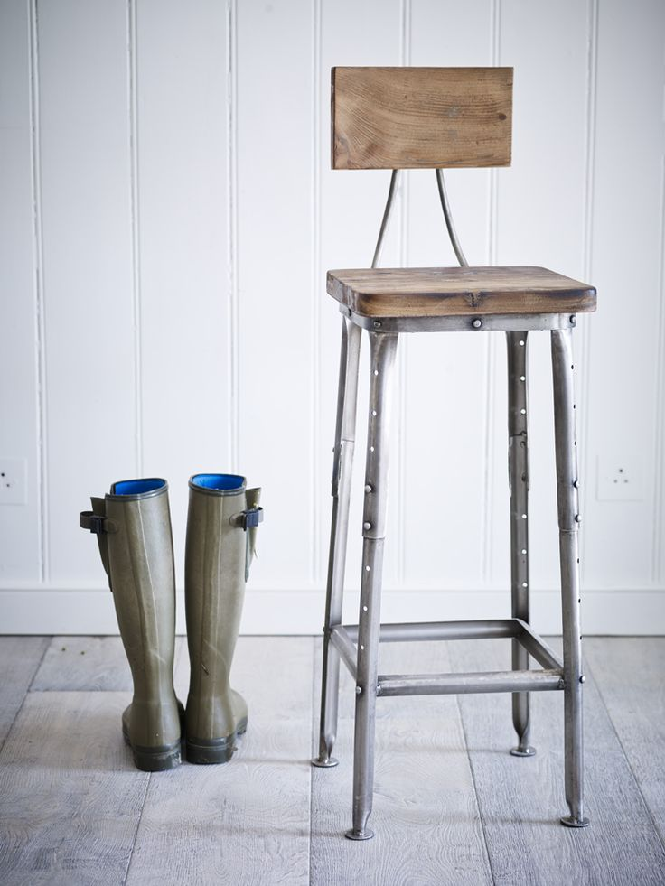 Beautiful Industrial Wooden Stool Great Pictures