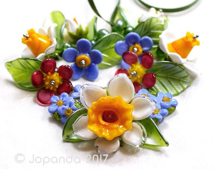 jopanda lampwork glass beads handmade sra easter daffodils u0026 forgetmenot
