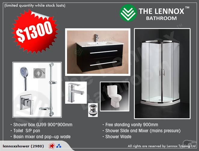 bathroom combo with 900MM wall hung vanity Lennox | Trade Me