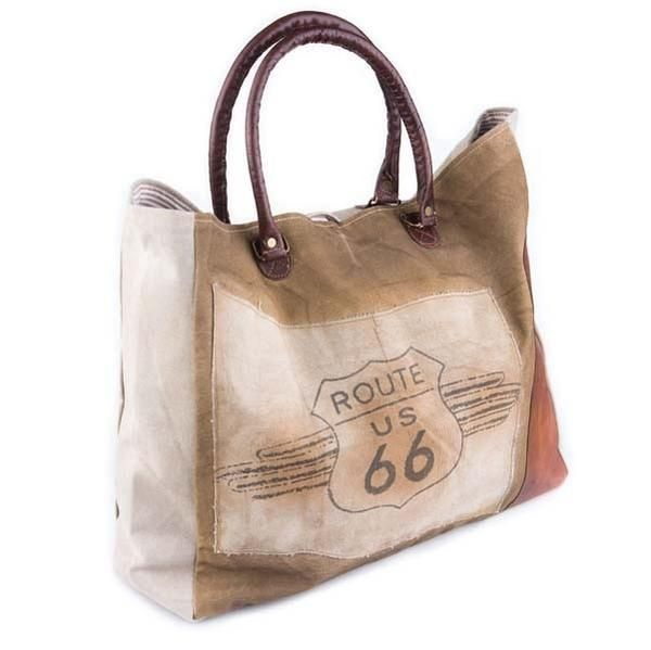 "Route 66 - Reclaimed Canvas Weekender Tote 23"" W x 15"" H x 5"" D with 9"" Handle Drop"