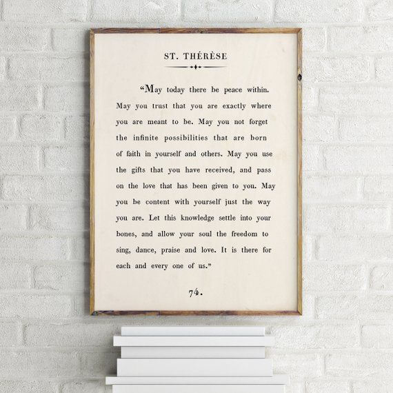 St Therese Quote Print Wall Art Custom Text Print Etsy Quote Prints Custom Wall Art Motivational Prints