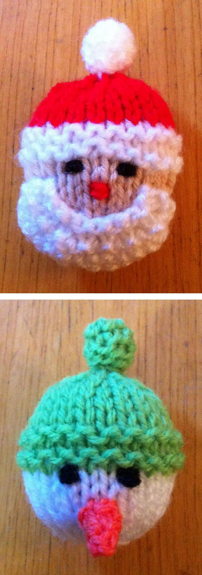 Free Knitting Pattern for Santa and Snowman Brooches - Brooches measure about 5cm x 5cm. Ideal for parties or to sell at holiday bazaars. Quick and easy to knit. Designed by Bizzle McQuizzle