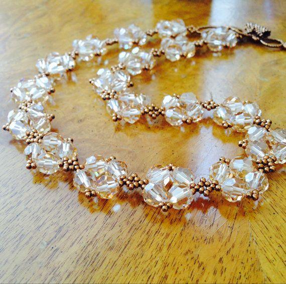 Goldenen Swarovski Crystal Anweisung von AmyKanarekDesigns auf Etsy