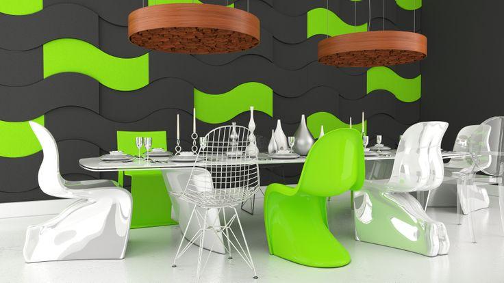 Salon,jadalnia, kuchnia z wykorzystaniem kolekcji Fluffo WAVE (miękkie panele ścienne 3D z Fabryki Miękkich Ścian)