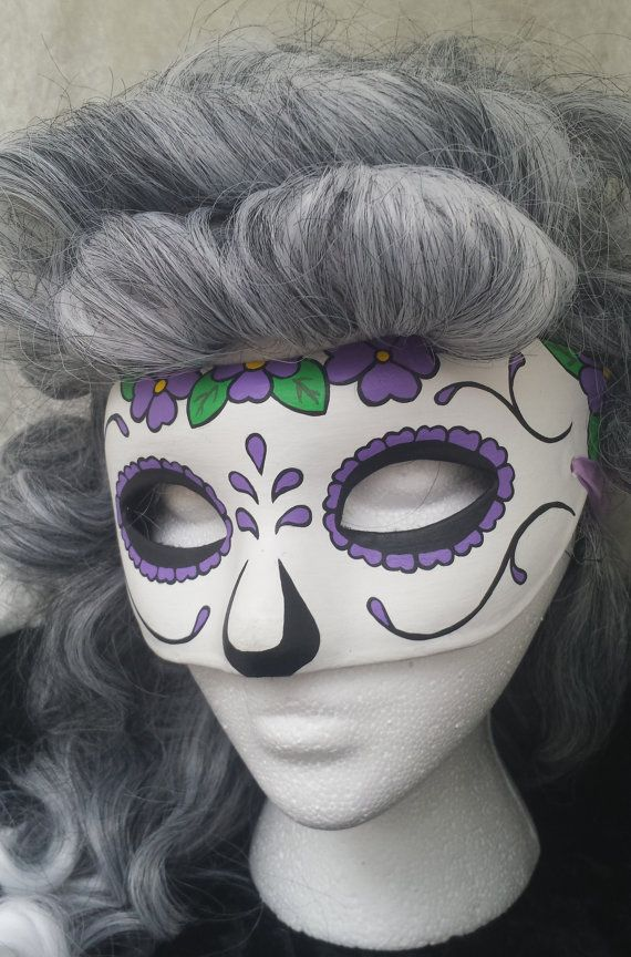 Equinox Masquerade Purple Flower Day of the Dead Handpainted Mask