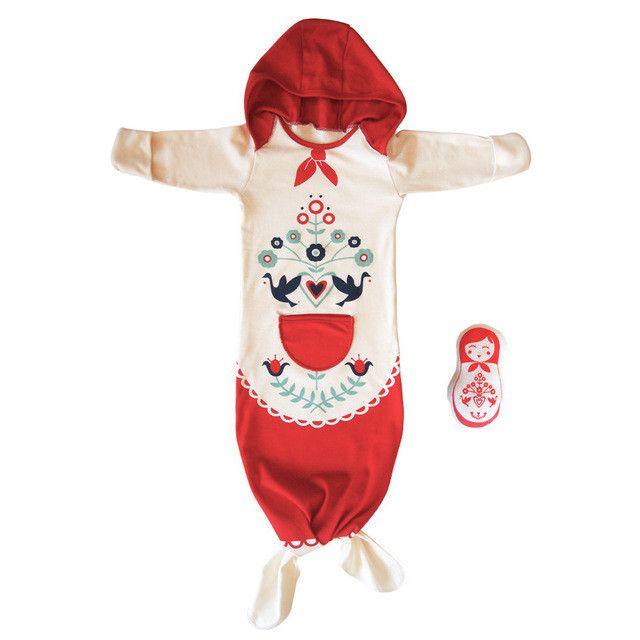 Little Nordic Folk Pattern Infant Girl Cozy Sack / Take Home Outfit / Sleeping Bag / Costume 0 - 6mo Organic