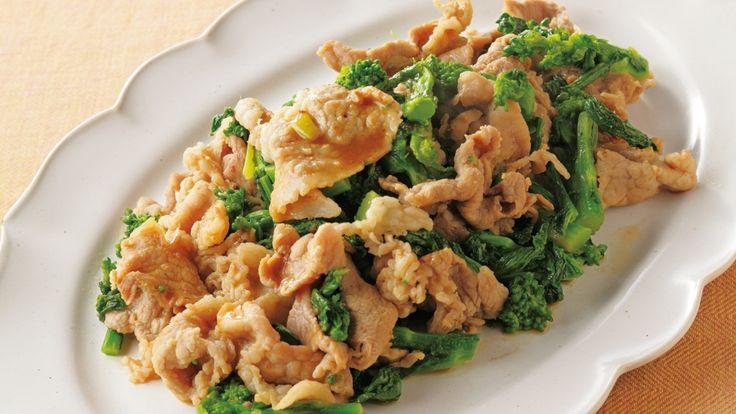 高城 順子 さんの菜の花,豚切り落とし肉を使った「菜の花と豚肉の炒め物」。時短料理の定番・炒め物も、あらかじめ野菜に火を通しておけば、よりスピーディーに。ご飯がすすむ、中国風の味つけでどうぞ。 NHK「きょうの料理」で放送された料理レシピや献立が満載。
