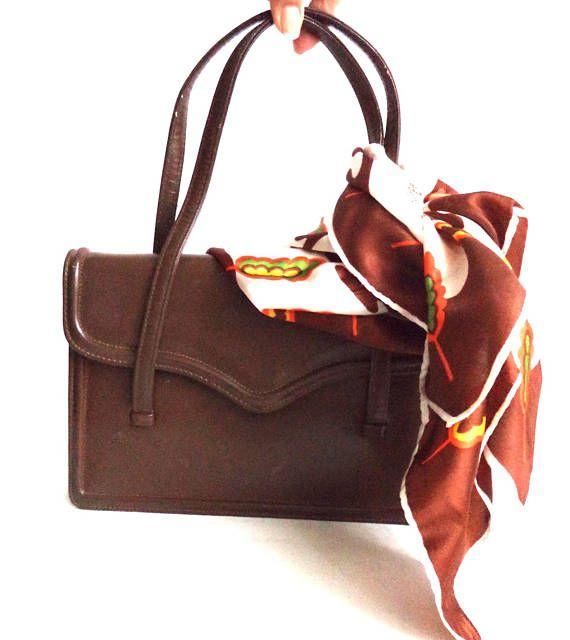 60s Jackie O Brown Leather Handbag Bag Purse Made in England
