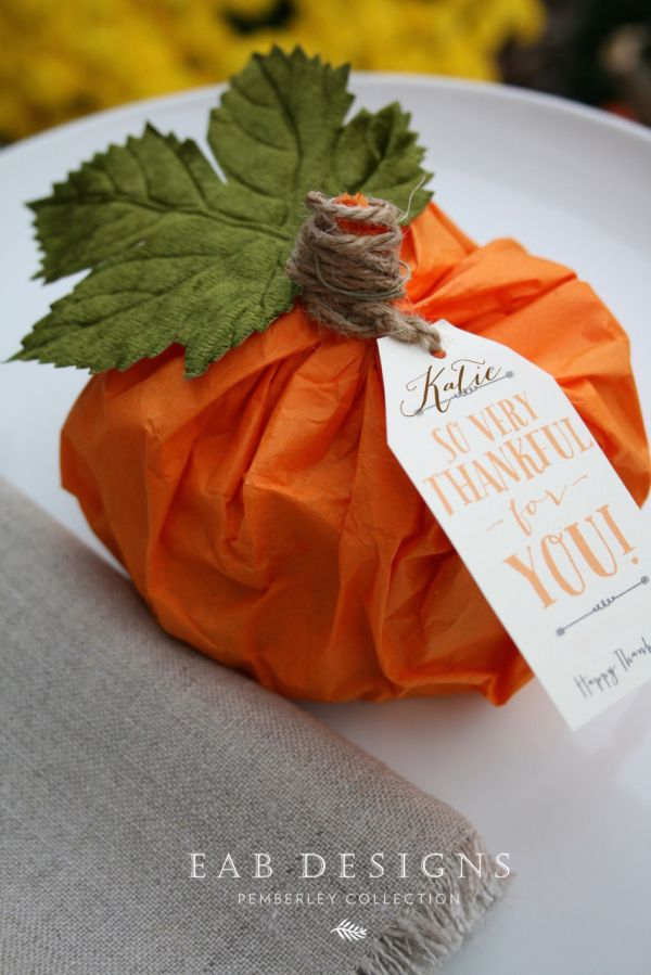 I'm in the process of finishing up our Thanksgiving pumpkin place cards and favors. The pumpkins are made with tissue paper and filled with chocolate leaves and turkeys which were wrapped in beautiful foil colors. I'm using three different autumnal...