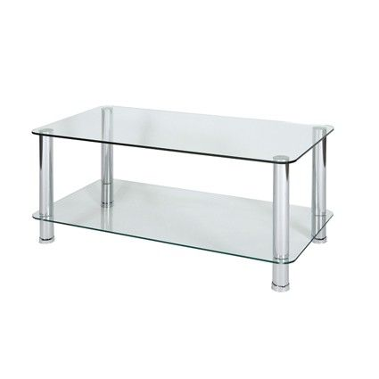 Milano Clear Glass Coffee Table With Chrome Legs H  Glass Thickness:Top  Shelf Bottom Shelf Leg Dia Special Price: