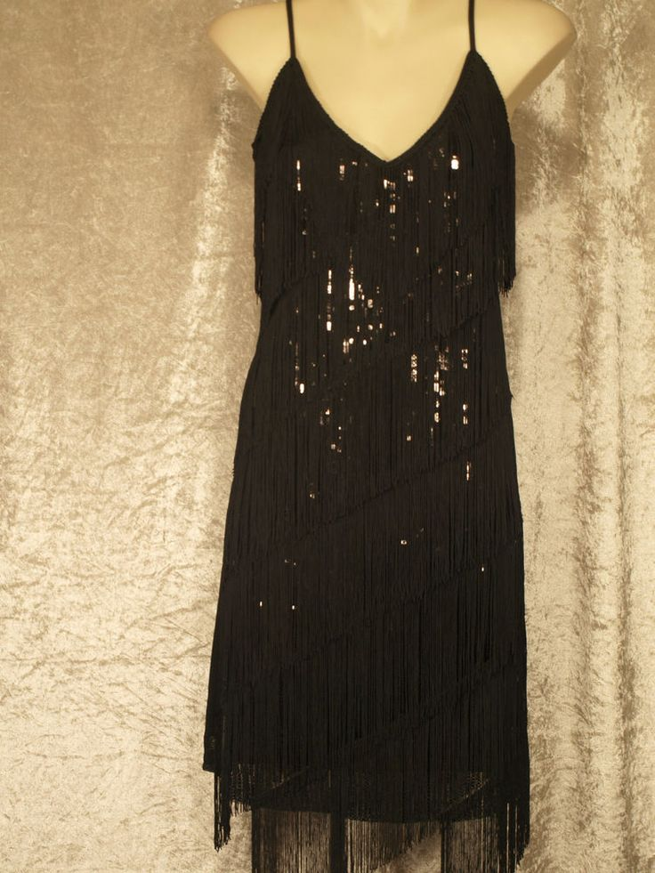 1920's Great Gatsby Style Flapper Party Dress Fringe Over ...