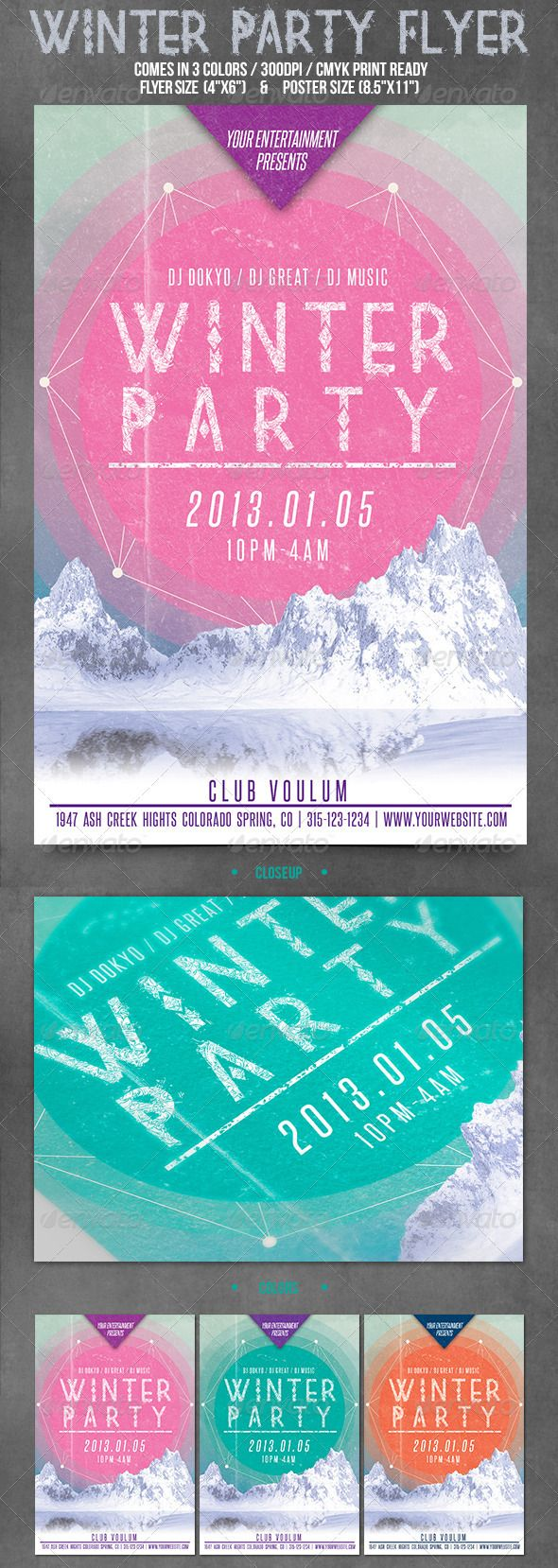 "Winter Party Flyer  #GraphicRiver         • 4""x6""(flyer) + 8.5""x11""(poster)  • 3 Color Variations  • Bleed and Guides  • CMYK Colors  • 300 DPI / Print Ready  • Layered  • Easy to customize  • Fully editable  • Zip file content: 2 PSD files and the help file.  • Fonts used are free       Created: 9January13 GraphicsFilesIncluded: PhotoshopPSD Layered: Yes MinimumAdobeCSVersion: CS3 PrintDimensions: 4x6 Tags: bash #blue #cold"