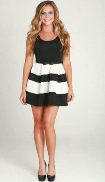 Black And White Striped Cocktail Dress http://www.top-dresses.com/black-and-white-striped-cocktail-dress-1545/