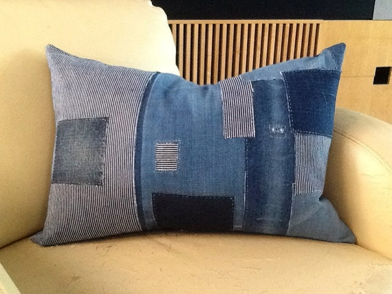 Japanese Boro Style Pillow  with Natural feather insert included 16