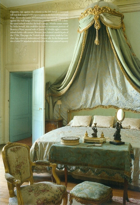 I love Chandeliers and Bed crowns.Private apartment at Chateau de Chales, established as a Paris museum in 1875 by Nelie Jacquemart in the Louis XVI empress style. World of Interiors Sept 2011