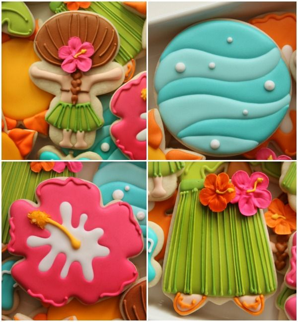 Decorated-Hawaiian-Luau-Cookies: