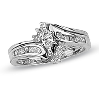 Zales 1 2 ct marquise diamond wedding engagement bridal set in 14k