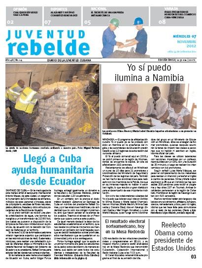 Llegó a Cuba ayuda humanitaria desde Ecuador: En la madrugada de este martes arribó un cargamento humanitario de 5,6 toneladas de alimentos, módulos de aseo personal y limpieza, y otros artículos. También se recibió una planta potabilizadora de agua, una bomba sumergible y un transformador de 220-80 volt