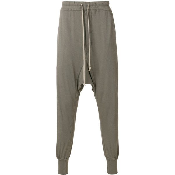 Rick Owens Drop-Crotch Trousers ($460) ❤ liked on Polyvore featuring men's fashion, men's clothing, men's pants, men's casual pants, grey, mens drop crotch pants, mens low crotch pants, mens cotton pants, mens grey dress pants and rick owens mens pants