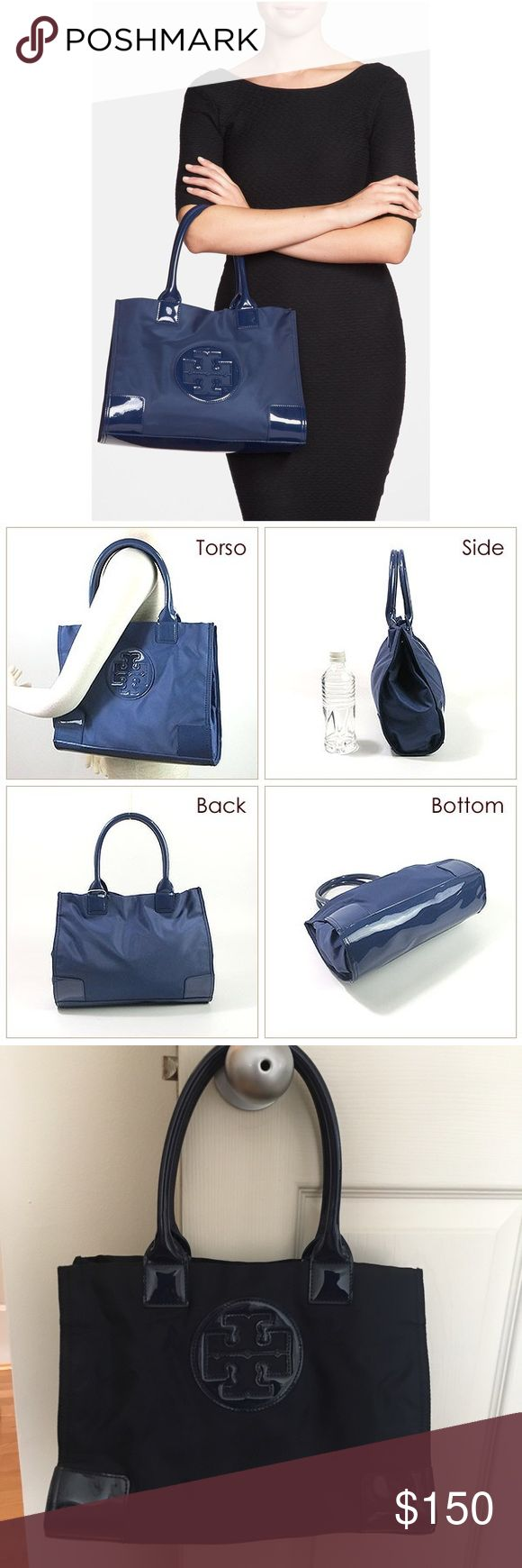 """Tory Burch Ella Mini Nylon Tote Bag Nylon material with *some signs of use* Magnetic snap closure, 2 gusset snaps Tubular patent leather handles with 6.5"""" (16.5 cm) drop 1 interior zipper pocket, 2 open pockets Height: 10"""" (25.1 cm) Length: 13.5"""" (33.9 cm) Depth: 4.5"""" (11.3 cm) Tory Burch Bags Totes"""