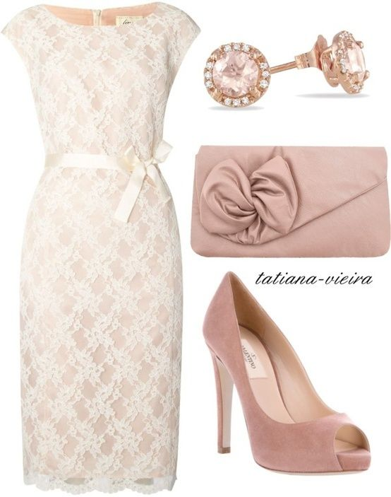 Classic, neutral, lace dress for bridemaids