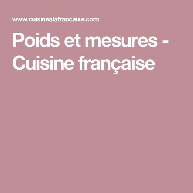 Poids et mesures - Cuisine française