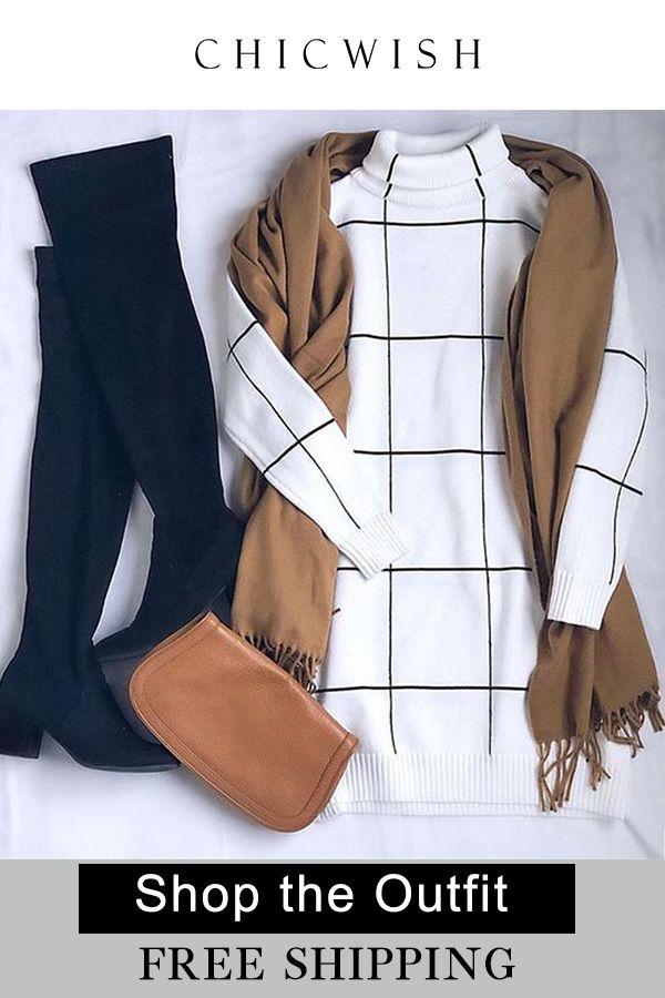 Warm Welcome Grid Turtleneck Sweater Dress.