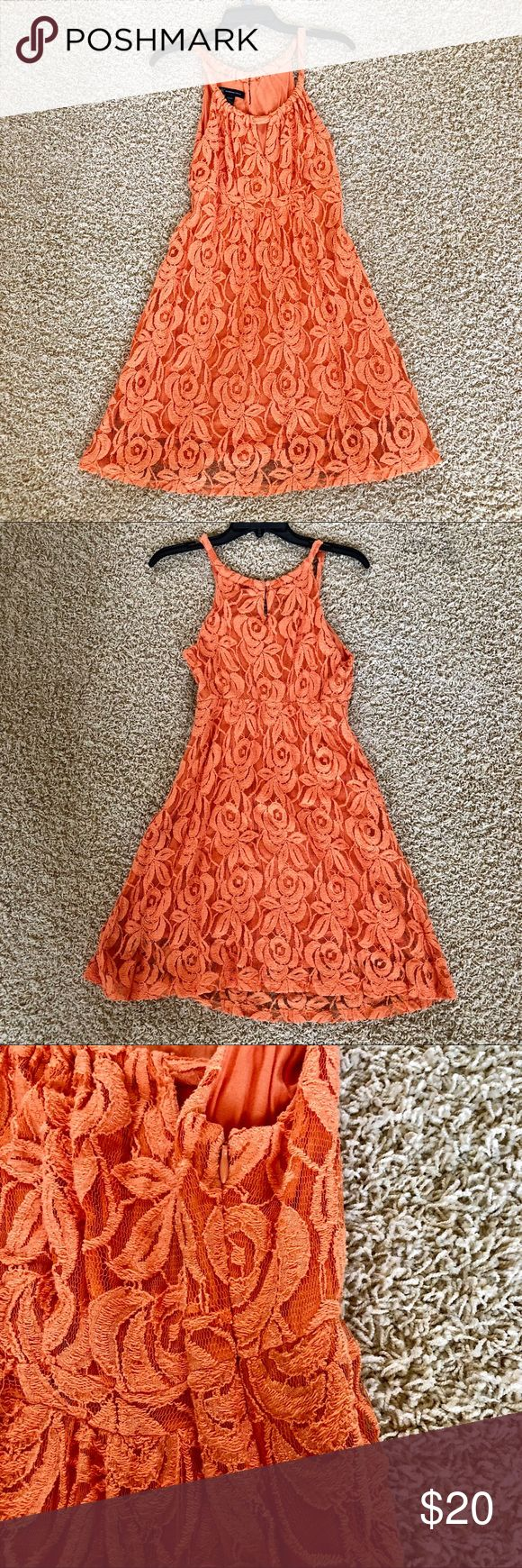 "INC Orange Lace Dress INC orange flower lace dress. Dress has a side zipper and a triangle opening in the front. Dress is lined.  Dress is approximately 36"" long from top to bottom.   Worn once, great condition. INC International Concepts Dresses Midi"