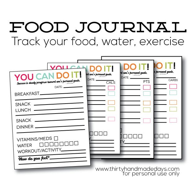 Free Printable Food Journal from www.thirtyhandmadedays.com