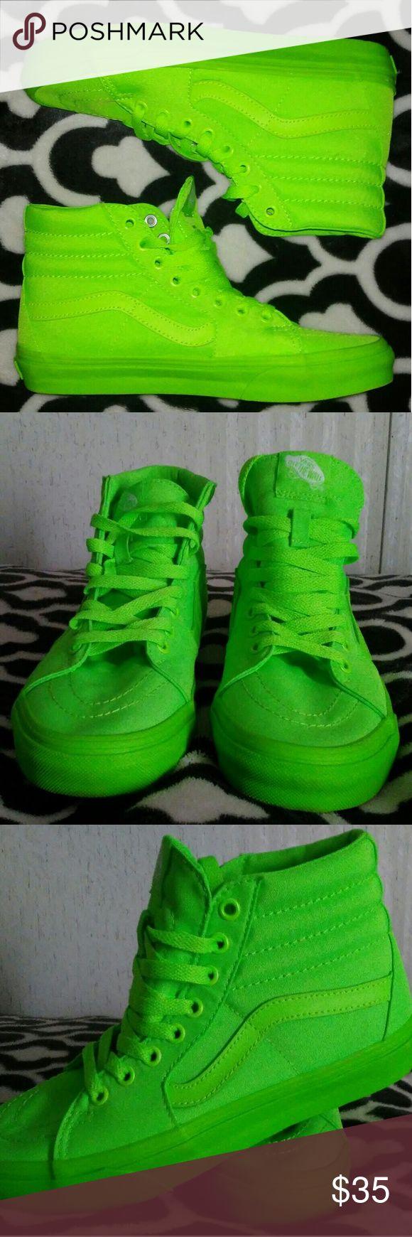 Vans High Top Neon Green Shoes Bright neon green vans. Like new. Unisex. Men 5.5 Women 7 Vans Shoes Sneakers