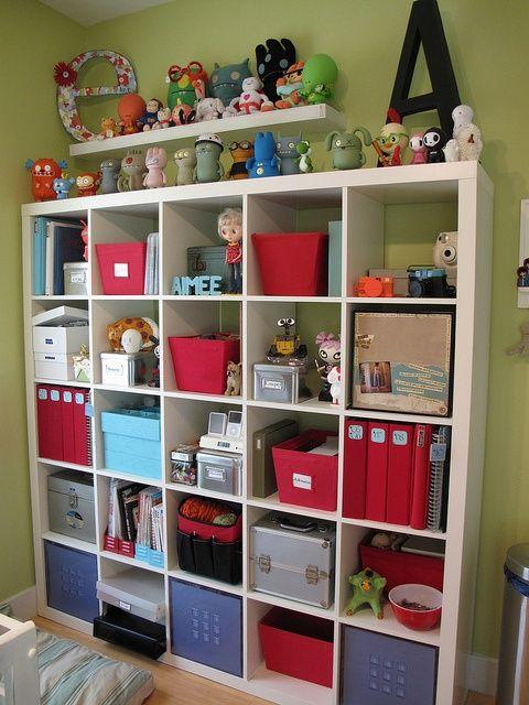 wall of storage - playroom ideas