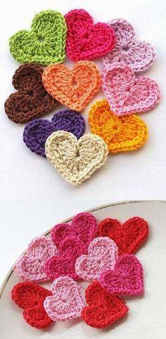 @ Polley ... these are cute ... I could use some in pinks and reds : ) ... How to Crochet a Heart