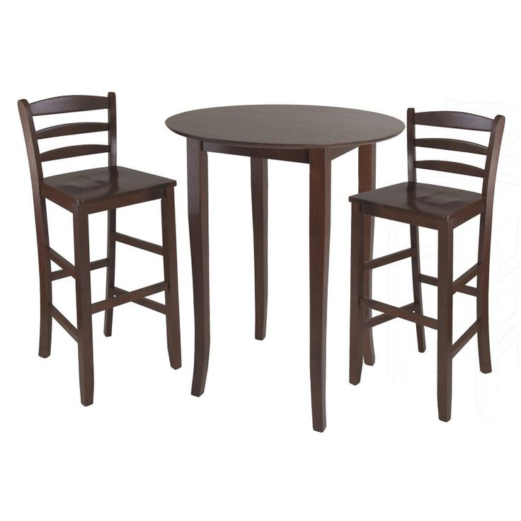 Winsome Fiona 3 Piece High Round Table with Ladder Back Stool - 94389