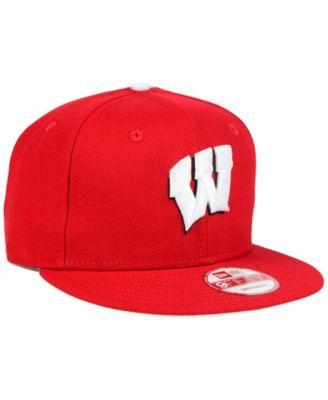 New Era Wisconsin Badgers Core 9FIFTY Snapback Cap - Red Adjustable