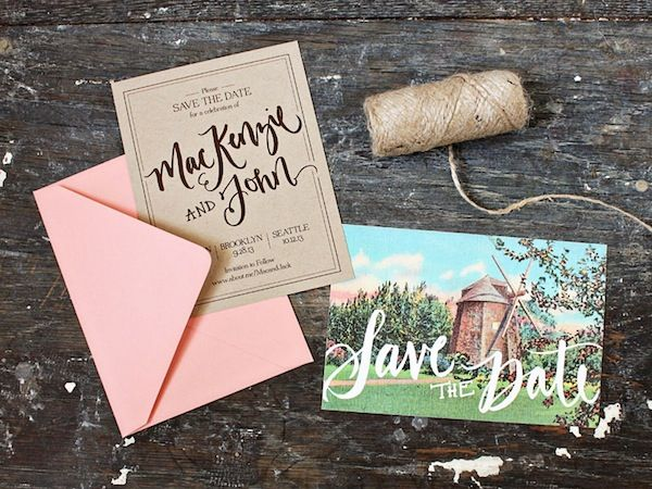 Oh So Beautiful Paper: Catherine + Adam's Rustic Chipboard and Lace Save the Dates