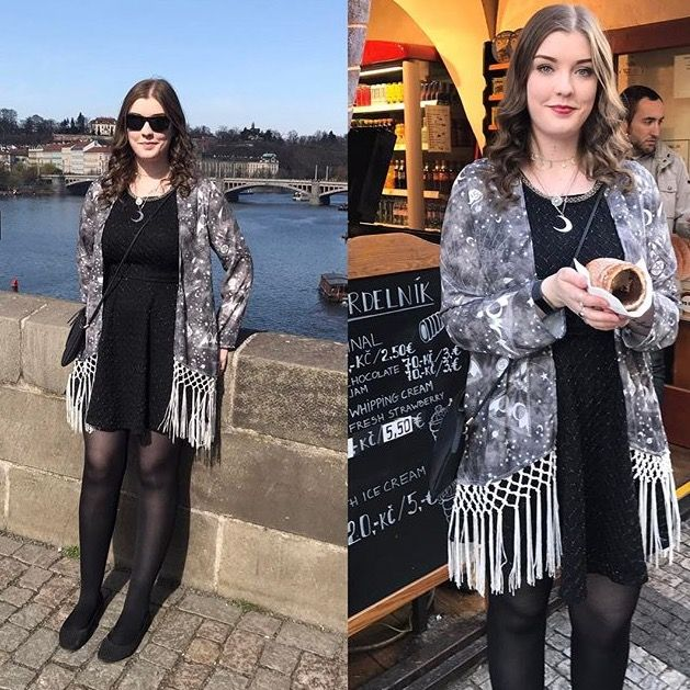 Dayna Rose enjoying her holiday in Prague in her Cosmic Drifters fortune-teller print kimono. Toooo cute! http://cosmicdrifters.com/product/short-fringed-kimono/