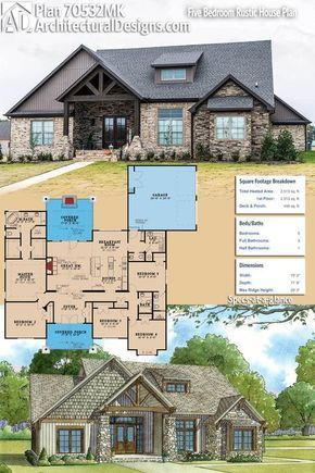 Architectural Designs House Plan 70532MK Gives You 5 Beds, 3.5 Baths And  Over 2,500 Square