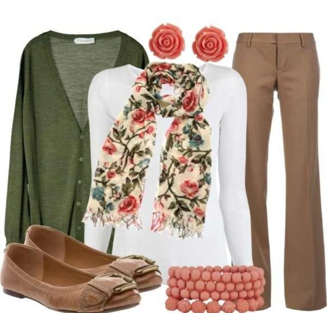 Fall teacher outfit...  would do smaller print on the scarf